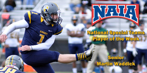 Senior Martin Waddick was named NAIA National Special Teams Player of the Week on Monday.